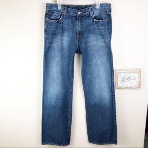 Lucky Brand Distressed Straight Leg Denim Jeans 36